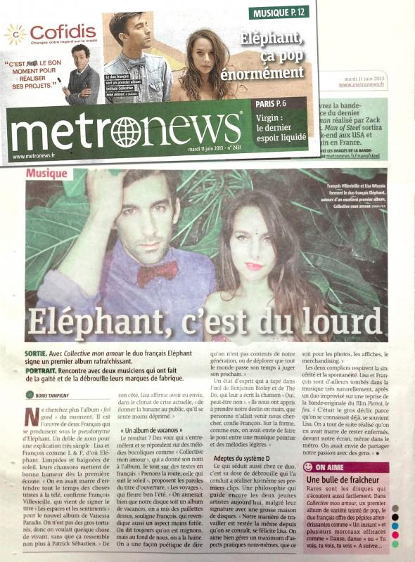 Éléphant - MÉTRO (mardi 11 juin 2013)