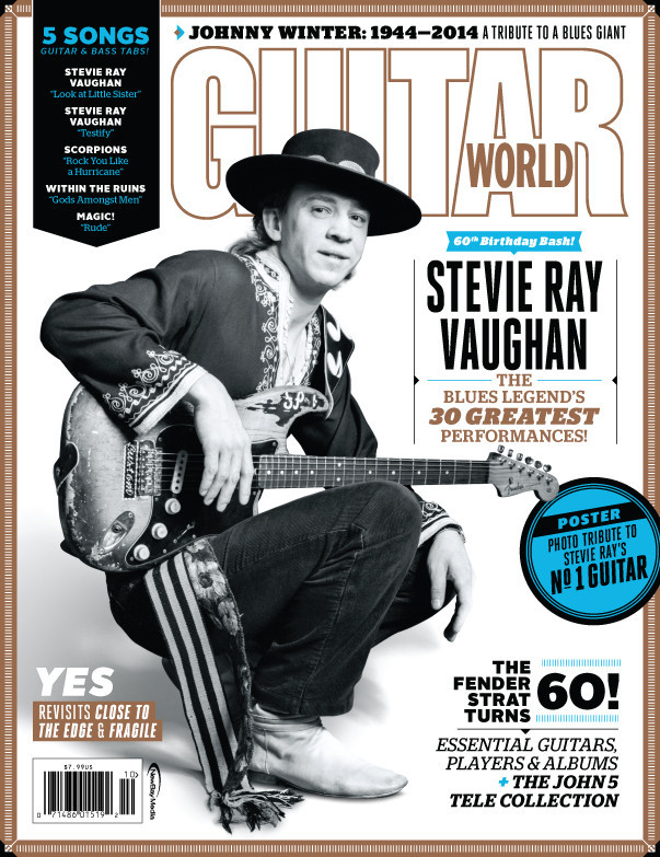 Stevie Ray Vaughan Guitar World October 2014 cover